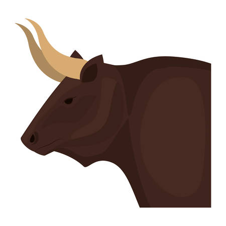 color image head of bull with horns vector illustration