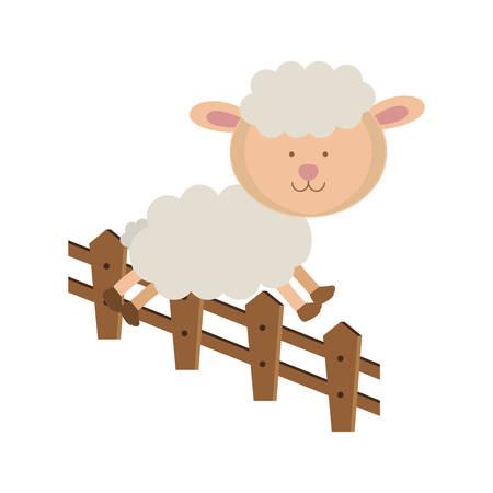 salto de valla: ovejas saltando una valla. historieta del animal y el tema de la naturaleza. diseño aislados y dibujado. ilustración vectorial