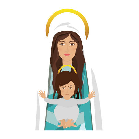 conception: cartoon virgin mary with baby jesus in her arms over white background. religious symbol. colorful design.  illustration