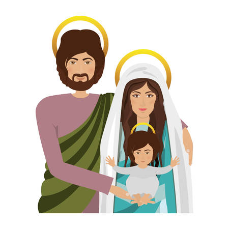 virgin mary and saint joseph with baby jesus  icon over white background. religious symbol. colorful design. illustration