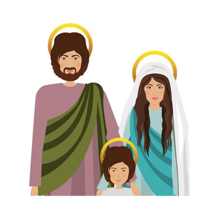 nativety: virgin mary and saint joseph with baby jesus  icon over white background. religious symbol. colorful design. illustration