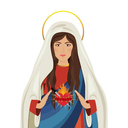 cartoon virgin mary icon over white background. religious symbol. colorful design.  illustration