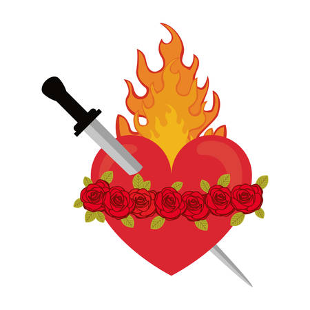 sacred heart: red heart with roses and fire flame icon over white background. sacred heart of jesus. colorful design. illustration