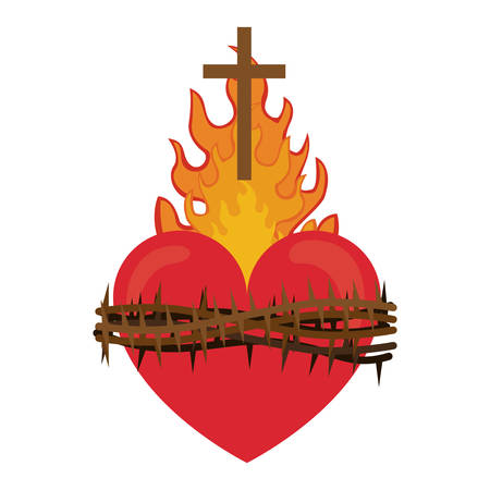 pentecost: red heart with fire flames and thorns. religious symbol. colorful design. illustration