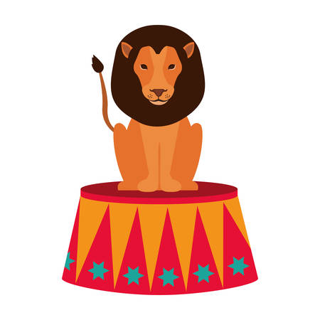 show of lion over white background. circus colorful design. illustration