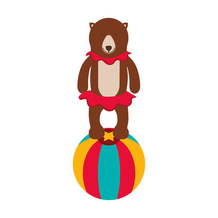 show of bear over white background. circus colorful design. illustration Illustration