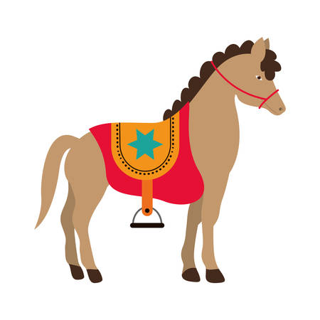 show of horse over white background. circus colorful design. illustration