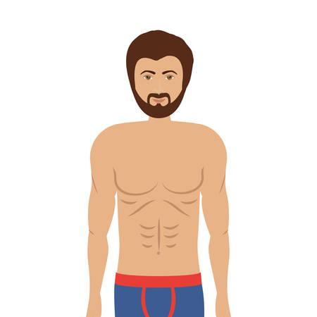 slip homme: homme de bande dessinée dans boxeur coloré sur fond blanc. conception de sous-vêtements. illustration
