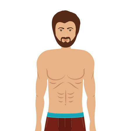 slip homme: cartoon man in colorful boxer over white background. underwear design. illustration