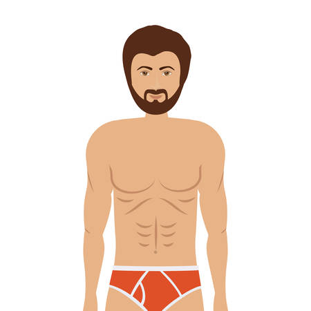 slip homme: cartoon man in colorful boxer over white background. underwear design. vector illustration