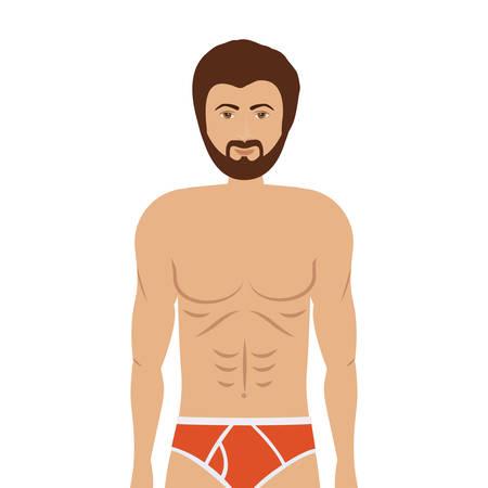 slip homme: homme de bande dessinée dans boxeur coloré sur fond blanc. conception de sous-vêtements. illustration vectorielle Illustration