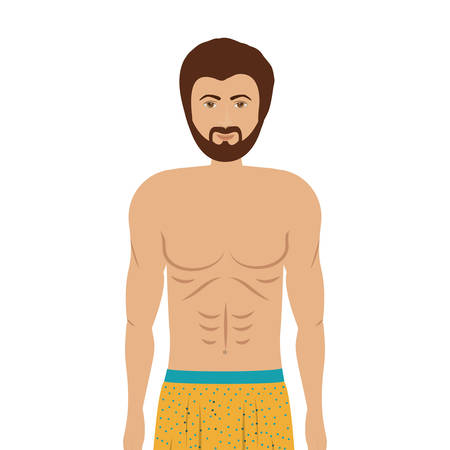 slip homme: cartoon man in colorful boxer over white background. underwear design. illustration