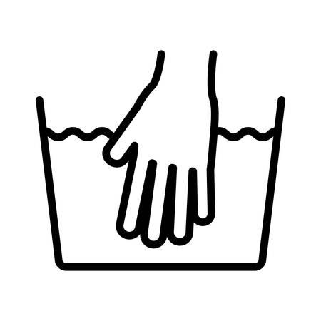 steam iron: hand wash icon over white background.washing symbols design. illustration