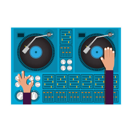 mixer turntable music device icon over white background. disc jockey design. vector illustration