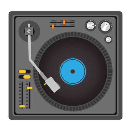 mixer console: mixer turntable music device icon over white background. disc jockey design. vector illustration