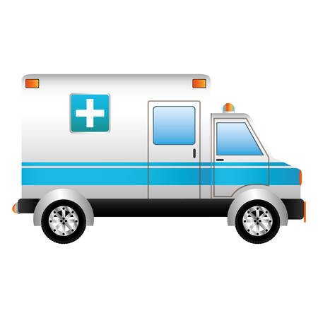 emergency ambulance vehicle icon over white background. vector illustration