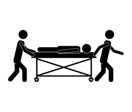 contagious: injuried Patient lying on a hospital bed with nurse. pictogram design. vector illustration Illustration