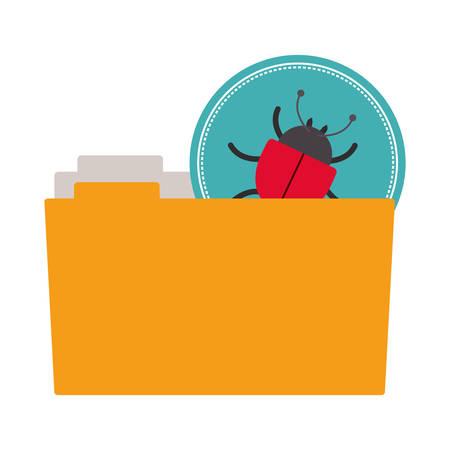trojan: folder with lady bug virus icon over white background.cyber security design. vector illustration Illustration