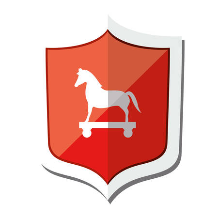 trajan: shield of cyber security system icon over white background. vector illustration Illustration