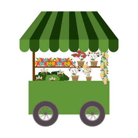 plants and flowers cart icon over white background. street business design. vector illustration