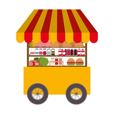 fast food cart icon over white background. street business design. vector illustration