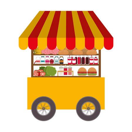 Icona del carrello di fast food su sfondo bianco. progettazione aziendale di strada. illustrazione vettoriale Archivio Fotografico - 66462832
