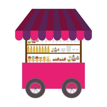 carretto gelati: gelato carrello icona su sfondo bianco. Design Business Street. illustrazione vettoriale