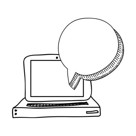 speech bubble with laptop computer icon over white background. vector illustration