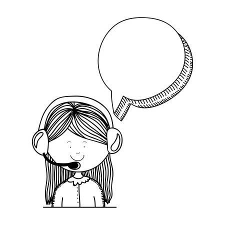mulher com o ícone de fone de ouvido. design de atendimento ao cliente. ilustração vetorial