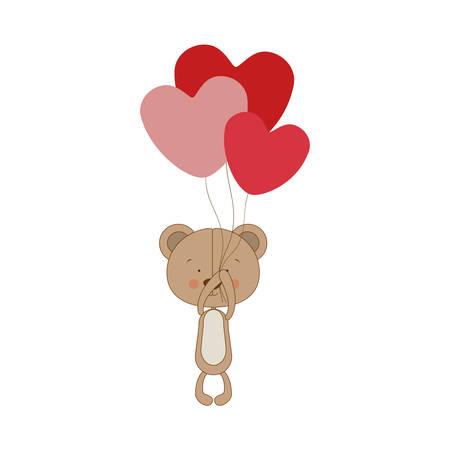teddy bear character holding balloons icon image vector illustration design Illustration