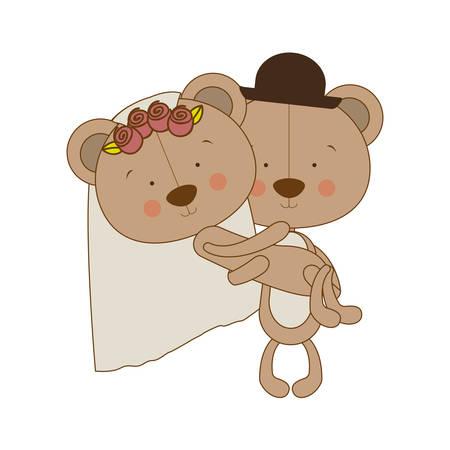 teddy bear couple male and female bride groom icon image vector illustration design Illustration