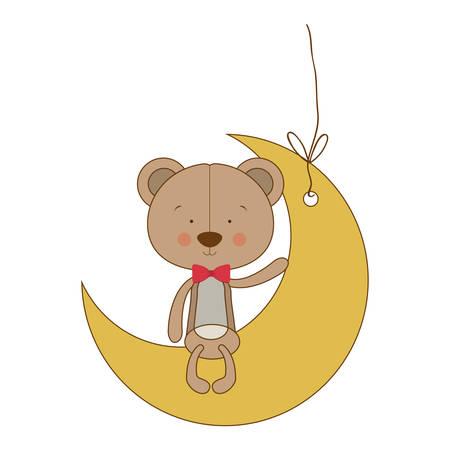 teddy bear character on mooon shape ornament  icon image vector illustration design