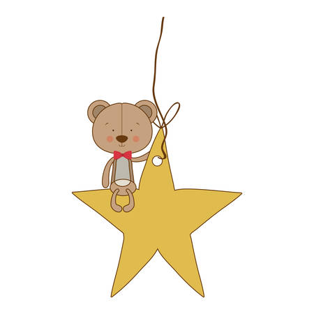 teddy bear character with star ornament icon image vector illustration design Illustration