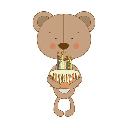 teddy bear character holding birthday cake icon image vector illustration design Illustration
