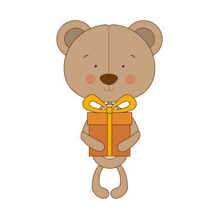 teddy bear character with gift box icon image vector illustration design