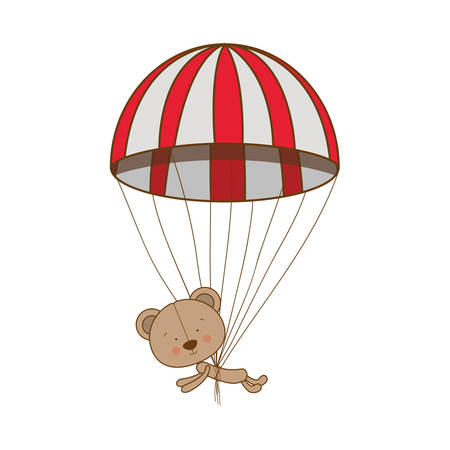 teddy bear character with parachute icon image vector illustration design