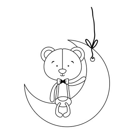 teddy bear character on moon ornament icon image vector illustration design Illustration