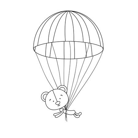 teddy bear character and parachute icon image vector illustration design