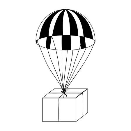 parachute with box simple icon image vector illustration design Illustration
