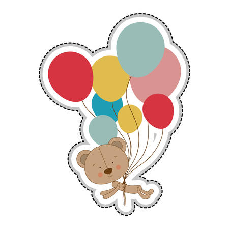 teddy bear character with balloons  icon image vector illustration design Illustration
