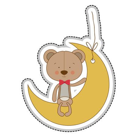 huggable: teddy bear character on moon ornament icon image vector illustration design Illustration