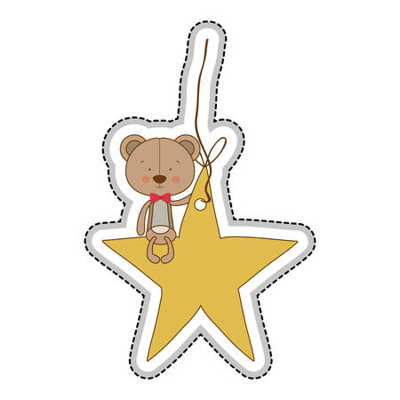 teddy bear character on star ornament icon image vector illustration design