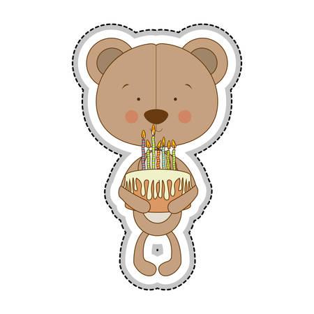 teddy bear character holding biirthday cake icon image vector illustration design Illustration