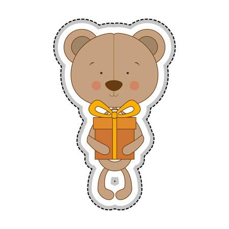 huggable: teddy bear character with gift box icon image vector illustration design