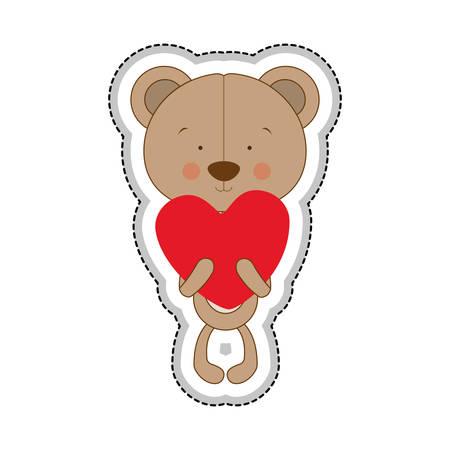 teddy bear character and heart cartoon icon image vector illustration design