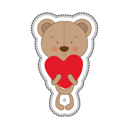 huggable: teddy bear character and heart cartoon icon image vector illustration design