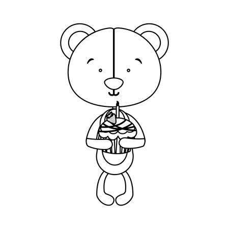 teddy bear character holidng birthday cake icon image vector illustration design