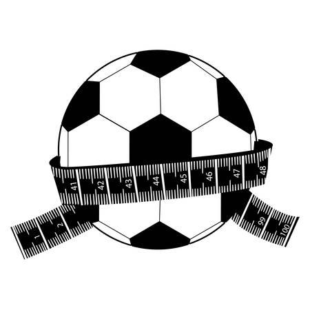 measuring tape and football ball icon image vector illustration design Illustration
