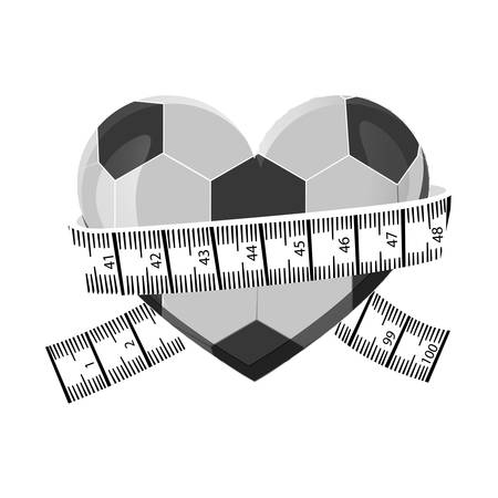 measuring tape and football ball icon image vector illustration design
