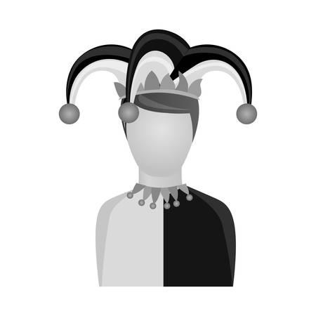 arlecchino: harlequin character icon image vector illustration design Vettoriali